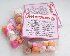 Sweethearts Valentines: with verse to correspond with conversation heart.