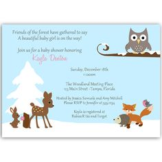 Winter Forest Friends Pink Baby Shower Invitation - Invite guests to your girl baby shower with this winter themed invitation featuring an owl, a deer, fox, bird, and rabbit in the snow. Baby Shower Winter, Beautiful Baby Girl, Forest Friends, Woodland Creatures, Winter Theme, Baby Shower Invitations, Invites, Place Card Holders, Shower Ideas
