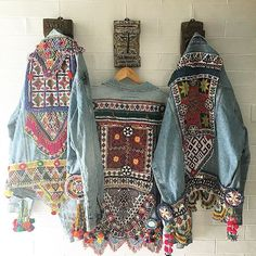 Denim Jacket Embellished Embroidery boho ethnic Tribal Banjara