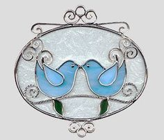 Stained glass lovebirds | Stained Glass Art by Glass Illusions - Bird Hangings