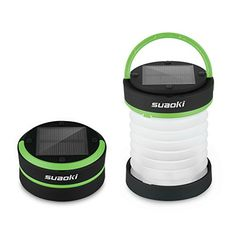 Suaoki Led Camping Lantern Lights Rechargeable Battery Powered By Solar Panel. Multi-Powered Camping Lights. The Suaoki Led Camping Lantern is a mini collapsible flashlight that can be charged by its solar panel or through its micro USB port. It has three modes: high, low or SOS blinking for emergencies. The small handle makes it convenient to hang from hooks around your campsite.