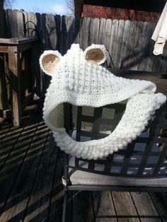 Puffy polar bear hooded cowl.