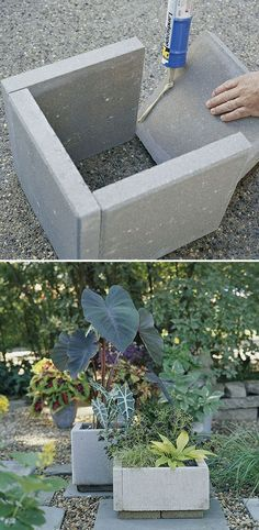 So gonna do this!  All you need are a few - pavers, landscape-block adhesive, and a little time. Wait 24 hours for everything to cure and you're ready to move your new planters into place and fill them with dirt and...