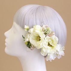 ヘッドドレス・髪飾り/トルコキキョウのヘアピック(クリームホワイト) - ウェディングヘッドドレスと花髪飾り|airaka