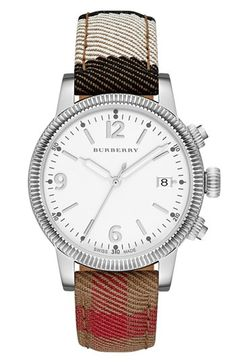 Burberry Round Dial Check Strap Watch