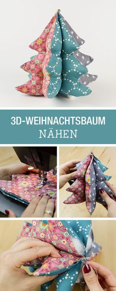 Sewing a fabric Christmas tree, sewing a patchwork / diy sewing tutorial and pattern: christmas treeGratis naai-instructies voor een stoffen kerstboom, naaien patchwork / … - Bricolaje y Manualidades Christmas Sewing, Christmas Projects, Handmade Christmas, Christmas Crafts, Fabric Crafts, Sewing Crafts, Sewing Projects, Fabric Christmas Trees, Christmas Tree Decorations
