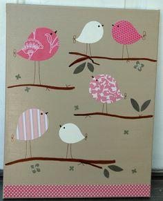 Crianças aves Room Decor Nursery Arte ... jogo Day Birdie para Penelope cama definido pela Pottery Barn ... Bolsa Original Pintura-kids quarto 11x14
