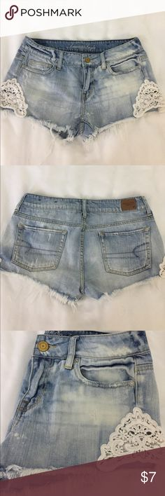 American eagle denim shorts American Eagle denim cut off shorts. Size 4. EUC. Measure 9 inches from the top to the bottom. American Eagle Outfitters Shorts Jean Shorts