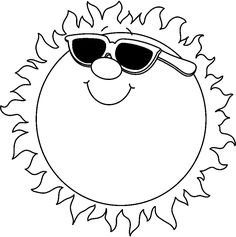 free black and white clip art summer - Google Search