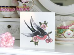 Sailor Jerry Style Swallow and cherry vintage tattoo handmade blank card