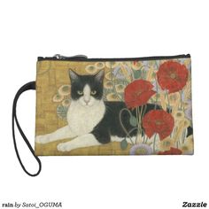 <Rain>Lovely Black and white cat and poppies  wristlet wallet by Satoi Oguma.