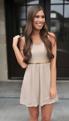 Taupe Lace Belted Dress - Dottie Couture Boutique Taupe Dress, Dottie Couture Boutique, Closet Accessories, Belted Dress, My Girl, Skater Skirt, Bridesmaid Dresses, My Style, Lace