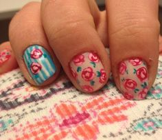 how to paint vintage rose nails -- loveee