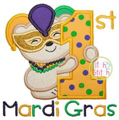 First Mardi Gras  Sizes 4x4 5x5 6x6 & 7x7 by TheItch2Stitch