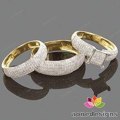 Mens Ladies Diamond Engagement Bridal Wedding Ring Trio Set Yellow Gold Over Engagement Wedding Ring Sets, Beautiful Engagement Rings, Engagement Ring Settings, Diamond Wedding Bands, Diamond Engagement Rings, Wedding Sets, Diamond Rings, Cheap Wedding Rings, Bridal Rings