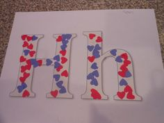 "How sweet, learning the letter ""H"" - use foam heart stickers we already have"