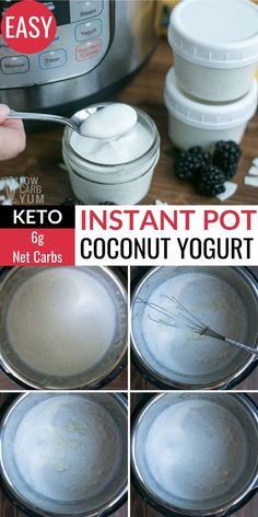 It's super easy to make a coconut dairy-free yogurt in the Instant Pot. And it's much cheaper than buying it. It's super easy to make a coconut dairy-free yogurt in the Instant Pot. And it's much cheaper than buying it. Low Sugar Yogurt, Coconut Milk Yogurt, Dairy Free Yogurt, Vegan Yogurt, Coconut Yogurt Recipe, Instant Pot Yogurt Recipe, Yogurt Recipes, Salad Recipes, Diet Recipes