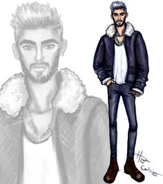 It's ‪LCM‬ so the next few days are all about ‪#Menswear‬ sketches. Here is Zayn Malik rocking a sheepskin jacket inspired by his Billboard mag cover.