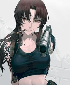 Anime picture black lagoon madhouse revy (black lagoon) walzrj long hair single tall image looking at viewer brown hair brown eyes holding payot upper body midriff smoke smoking girl gloves weapon gun 568745 en Fille Anime Cool, Cool Anime Girl, Anime Art Girl, Anime Girls, Revy Black Lagoon, Black Lagoon Anime, Manga Girl, Manga Anime, Character Art
