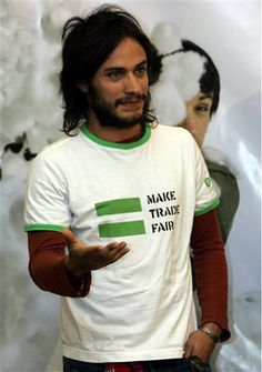 "Gael Garcia Bernal rocking a ""Make Trade Fair"" shirt. Another Latino advocating for the fair and ethical treatment of our ppl makes me smile...and Gael in general makes me smile."