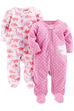 aa2bd3607f736 Simple Joys by Carter's Baby Girls' 2-Pack Fleece Footed Sleep-and-