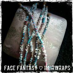 Handmade hairwraps by Face Fantasy BodyArt. Great for your festivallook