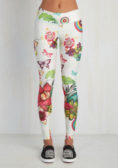 Kettle Belle Athletic Leggings in Floral. Celebrate your strengths - both physical and fashionable - by hitting the gym in these white leggings! #white #modcloth