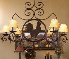 Rooster Pot Rack Features Six Candelabra Lights Adorning