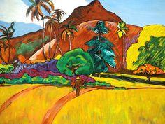 Paysage tahitien - P. Gauguin - 1891 Reproduction à l'acrylique sur panneau en bois, vernie, vendue sans cadre. Travail artisanal soigné par copiste. Velours adhésif au verso du tableau. Dimensions : 29 x 39 cm. Épaisseur : 5 mm. A vendre. Prix : 60 €.