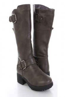 Grey Faux Leather Buckled Strapped Riding Boots Save 90% http://couponssmart.com/store/?si=Ami-Clubwear