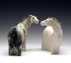 Yin Yang Horses Porcelain (slipcast and altered), stains & underglazes, fired to Cone 5 4 x 4 x 3 inches each...