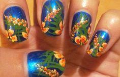 Diseños de uñas tropicales con color, diseño de uñas tropicales noche.   #uñas #nails #uñasdeboda