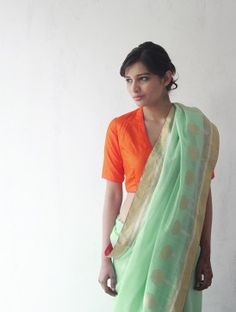 Mint Chanderi  Zari Marigold Saree