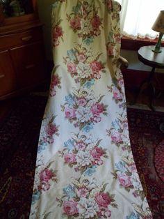 "Vintage 1940's Floral Barkcloth Curtain/Drape Pleated Panel 82""x 33"" #4"