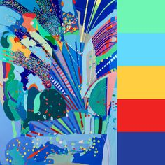 This edition of CMYLK pairs Colourlovers palettes with paintings by artist Oona Ratcliffe, that are acrylic splashes of abstracted color or topographies.