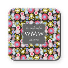 Floral Custom Family Monogram Square Coaster