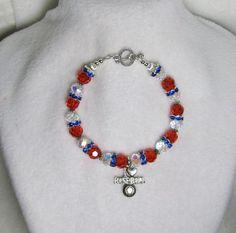 Baseball & the - Jewelry creation by Linda Foust Bangle Bracelets, Bangles, Jewelry Crafts, Jewelry Ideas, Bracelet Tutorial, Beaded Jewelry, Swarovski Crystals, Jewerly, Sapphire