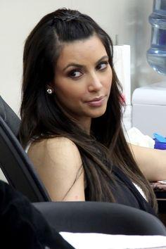 Kim Kardashians wavy, long hairstyle