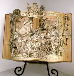 Alice in Wonderland, antique altered pop-up book re-purposed (1918 restored)