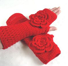 Stunning Crochet Rose Red Fingerless Gloves