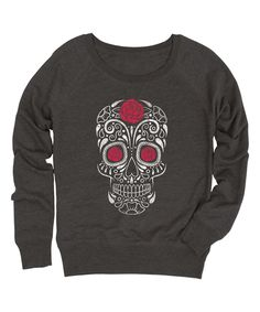 Heather Charcoal Rose Skull Slouchy French Terry Pullover - Women by Festuvius #zulily #zulilyfinds
