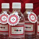 Personalized poker chip labels, bottled water, and coasters commemorate your lucky Casino Party Decorations, Engagement Party Decorations, Personalized Favors, Personalized Wedding, Wedding Labels, Wedding Favors, Lucky In Love, Lucky 7, Make Your Own Labels