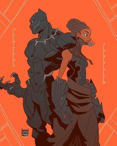 T'Challa the Black Panther and Shuri Art by Black Panther Art, Black Panther Marvel, Black Anime Characters, Marvel Characters, Marvel Art, Marvel Heroes, Comic Books Art, Comic Art, Black Comics