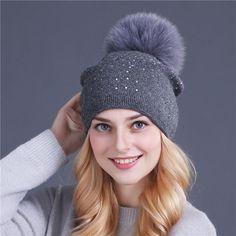 Women Winter Pom Pom Rhinestone Cap ~ Fur Wool Knitted Beanie d7fbd5a66000