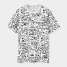 50187fdbf UNIQLO Keith Haring Black White Shirt Men, White Shirts, Cotton Shirts For  Men,