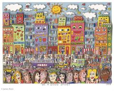 """Her Dabbles:""""Be a Good Sport"""" by James Rizzi, I made a power point of rizzi's work and pointed out foreground, middle ground, and background. Draw a road, add something in foreground, outline buildings in Sharpie, then watercolor"""