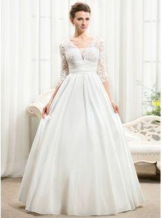 A-Line/Princess V-neck Floor-Length Taffeta Lace Wedding Dress With Ruffle Beading Sequins