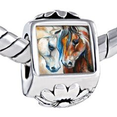 Pugster White Brown Horse Photo Against Flower European Beads Fits Pandora Charm Bracelet Pugster. $12.49. Color: White, brown, blue. Weight (gram): 4.8. Metal: Metal. Size (mm): 7.66*12.36*9.88