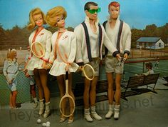 Midge, Barbie, Ken and Allan ready to play some pairs tennis by Hey Sailor Greetings