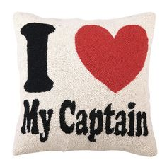 Hand-hooked wool pillow with a captain's wheel.      Product: PillowConstruction Material: Wool cover and polyester ...